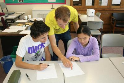 Two students at the XUK English summer language school