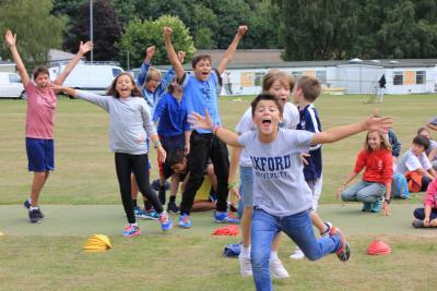 Children happy and celebrating winning