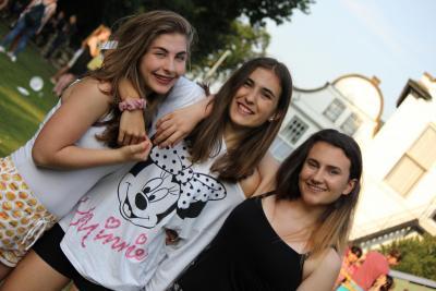 Three teenage girls at the BBQ