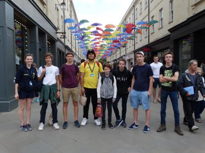 Teenage boys shopping in Bath