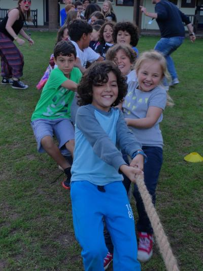 Campers during tug of war