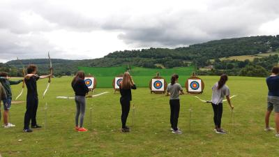 Teenagers Archery at XUK summer camp