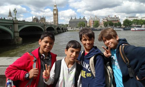 Boys on London trip studying English courses