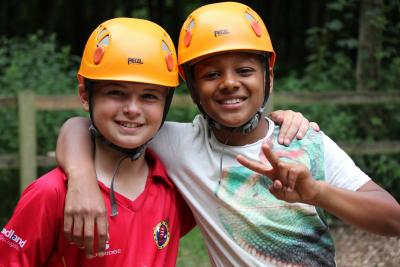 Climbing activity at summer camp in england