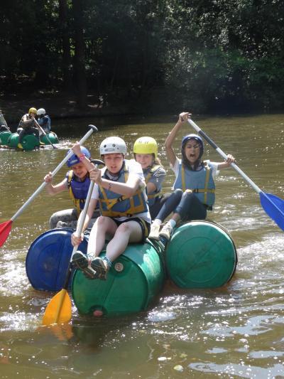 Raft building at xuk summer camp
