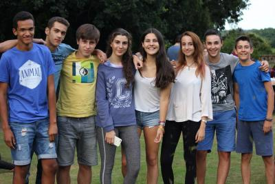 teenagers having fun at uk activity summer camp in england
