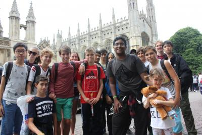 Teenage boys shopping in Oxford at xuk residential activity camp