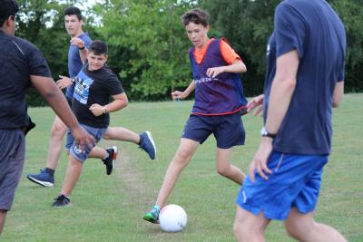 football teenage boys at XUK Summer Residential Camp in England