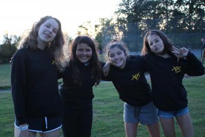 thumbs up happy campers wearing summer camp hoodie united kingdom