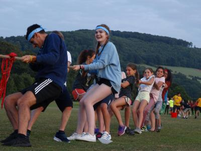 tug of war colour war fun at XUK Excel residential camp