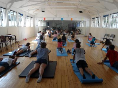 yoga activity at XUK English summer school kids teens london